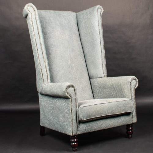 Buffalo-Leather-Wingback-Chair