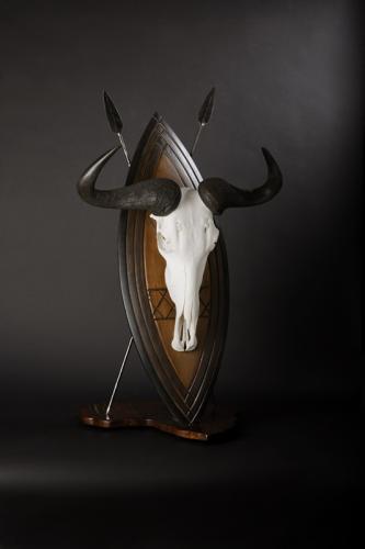 Bluewildebeest Skull on Shield
